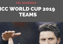 icc world cup 2019 teams