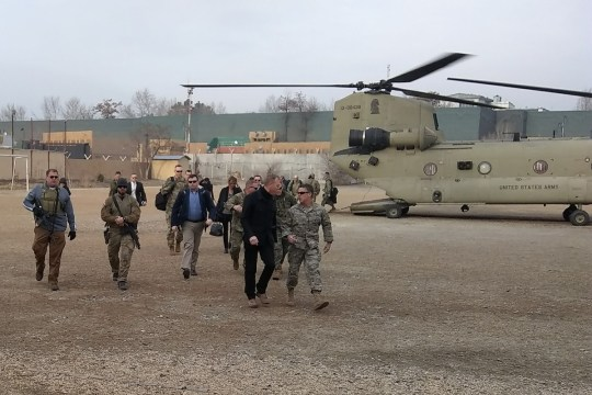 Acting Secretary of Defense Patrick Shanahan arrives in Afghanistan on a surprise visit on February 11th, as the United States negotiates peace with the Taliban.