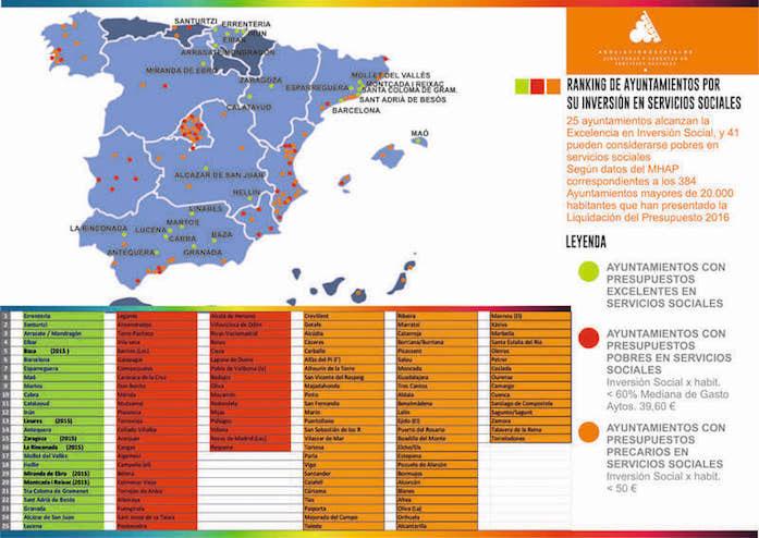 Ranking Ajuntaments amb Excel·lència Serveis Socials PSOE Maó