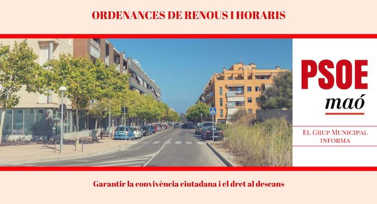 Ordenances horaris i renous ajuntament de Maó PSOE Maó Maria Membrive Héctor Pons
