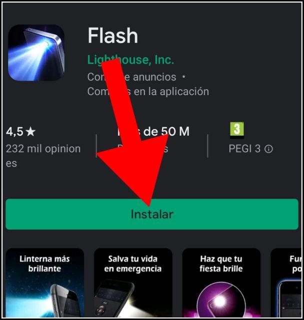 descargar linterna gratis desde Play Store