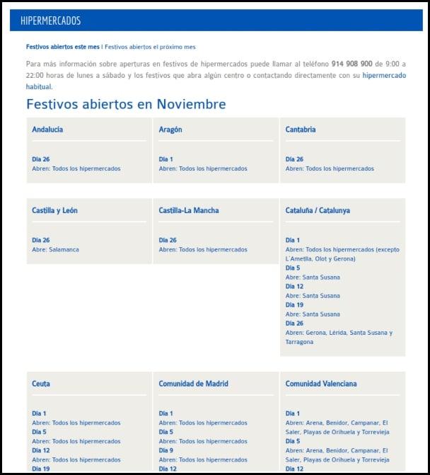 apertura festivos Carrefour