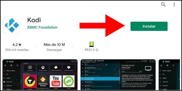 instalar Kodi desde Play Store