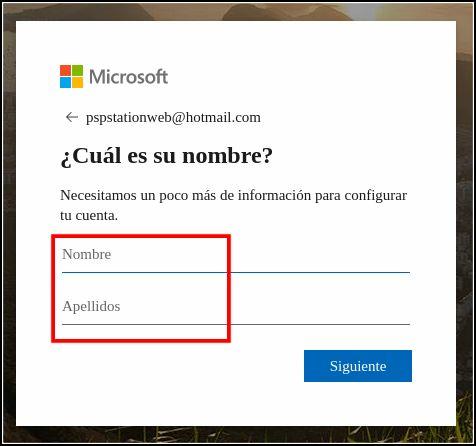 Nombre de usuario y apellidos en Hotmail