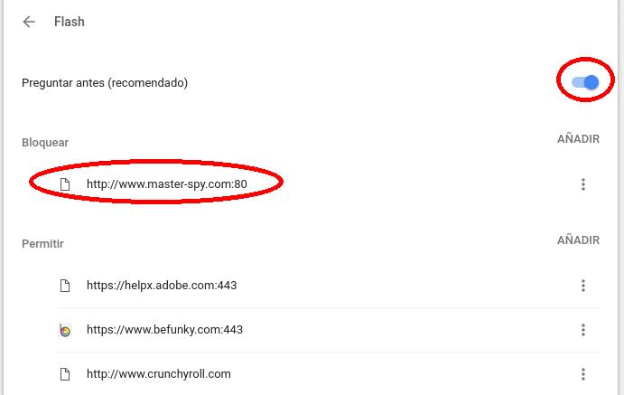 configuración flash de Chrome