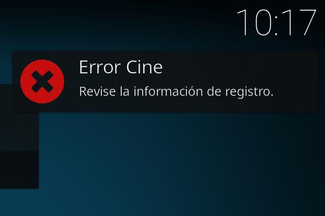 error cine, revise información de registro