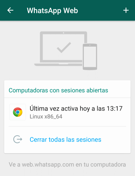 sesiones WhatsApp Web