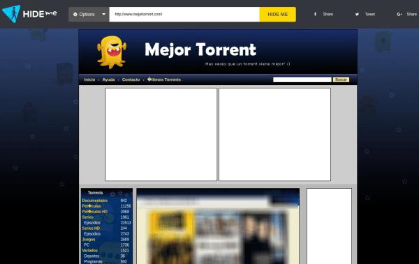 Hide.me con MejorTorrent