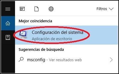 configuración MSConfig