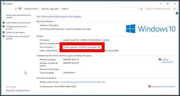 versión 64-bit de Windows 10