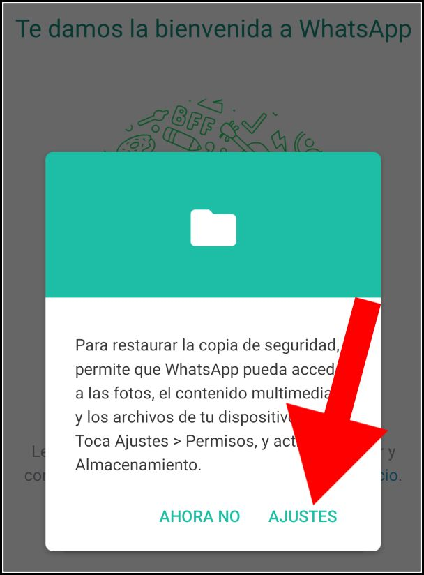 acceso restaurar backup WhatsApp