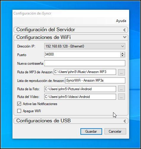 Configuración iSyncr en PC