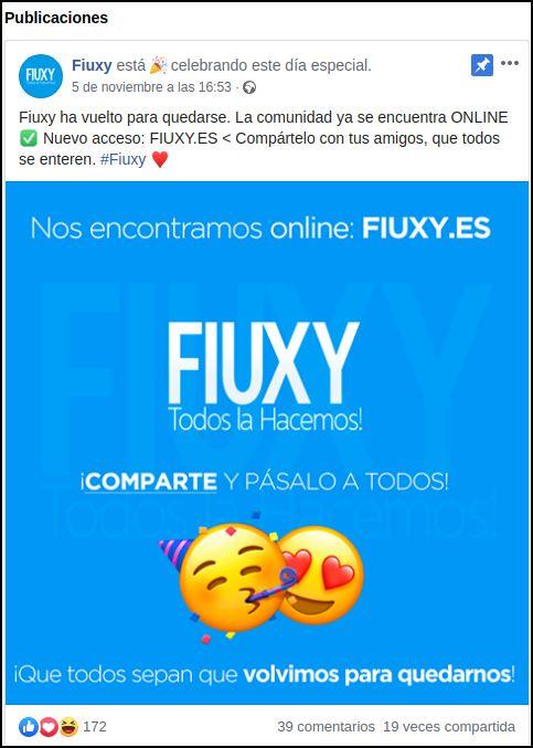 Publicación de Fiuxy en Facebook