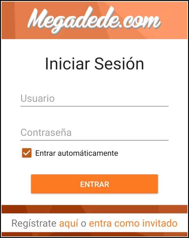 Iniciar sesión en Megadede para Android