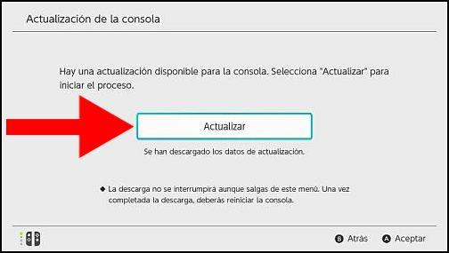 Instalar actualización Switch