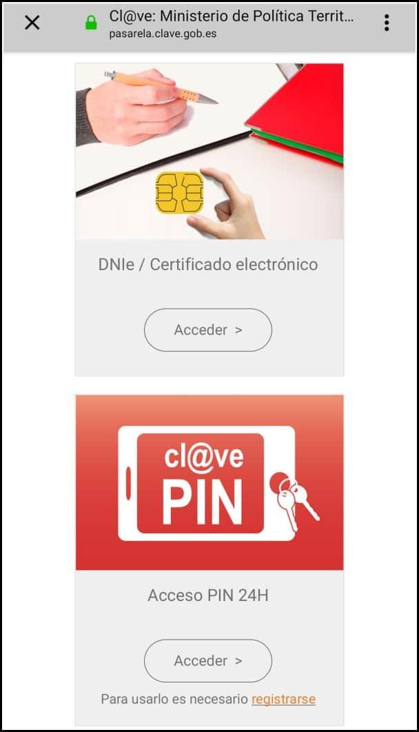 acceso cl@ve y DNIe