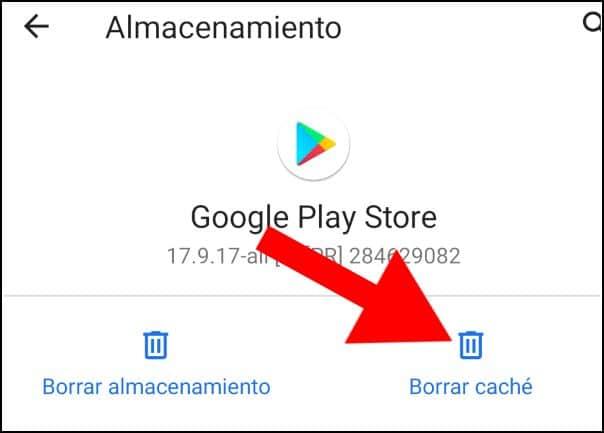 Borrar caché Play Store