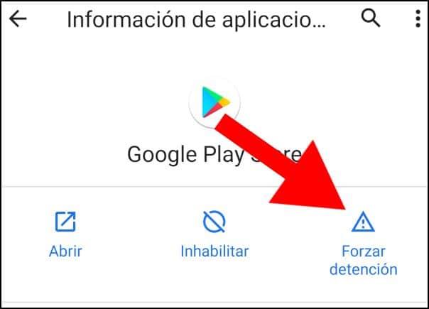 Forzar detención Google Play Store