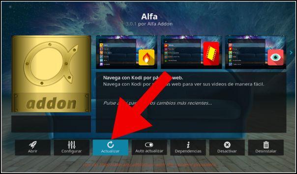 actualizar addon Alfa