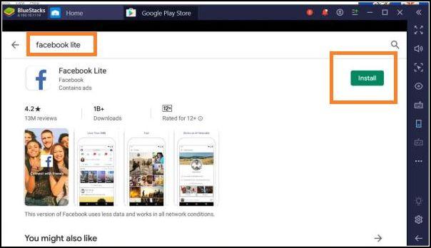 instalar Facebook Lite en emulador