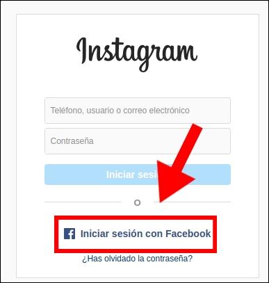iniciar sesión en Instagram con Facebook