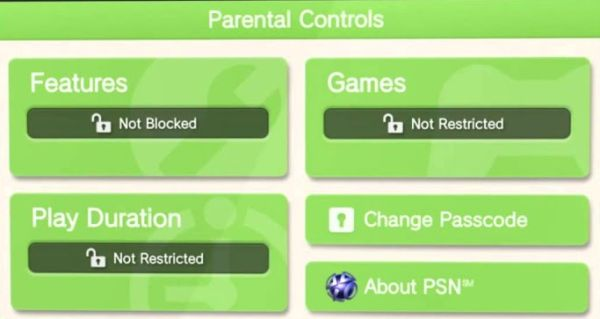control parental ps vita