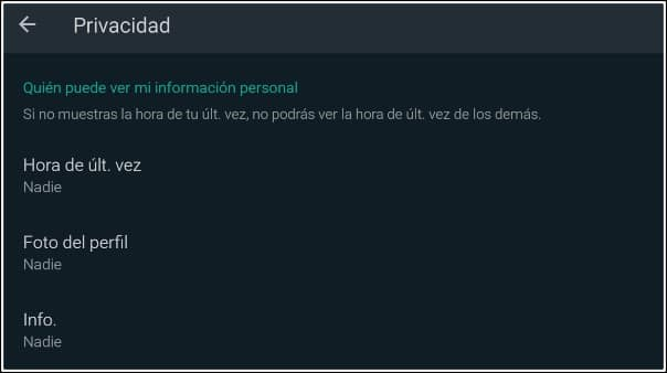 privacidad whastapp oculto