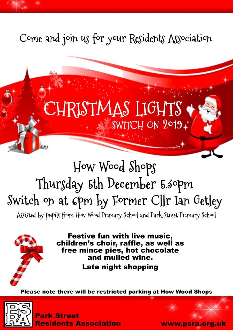 PSRA Christmas Lights Switch on 2019