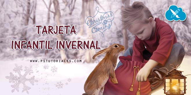 Tarjeta infantil invernal de Navidad con Photoshop