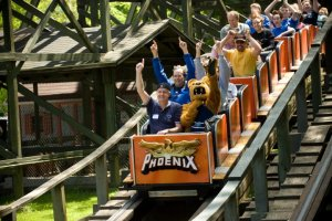 Penn Staters ride The Phoenix roller coaster at Knoebels