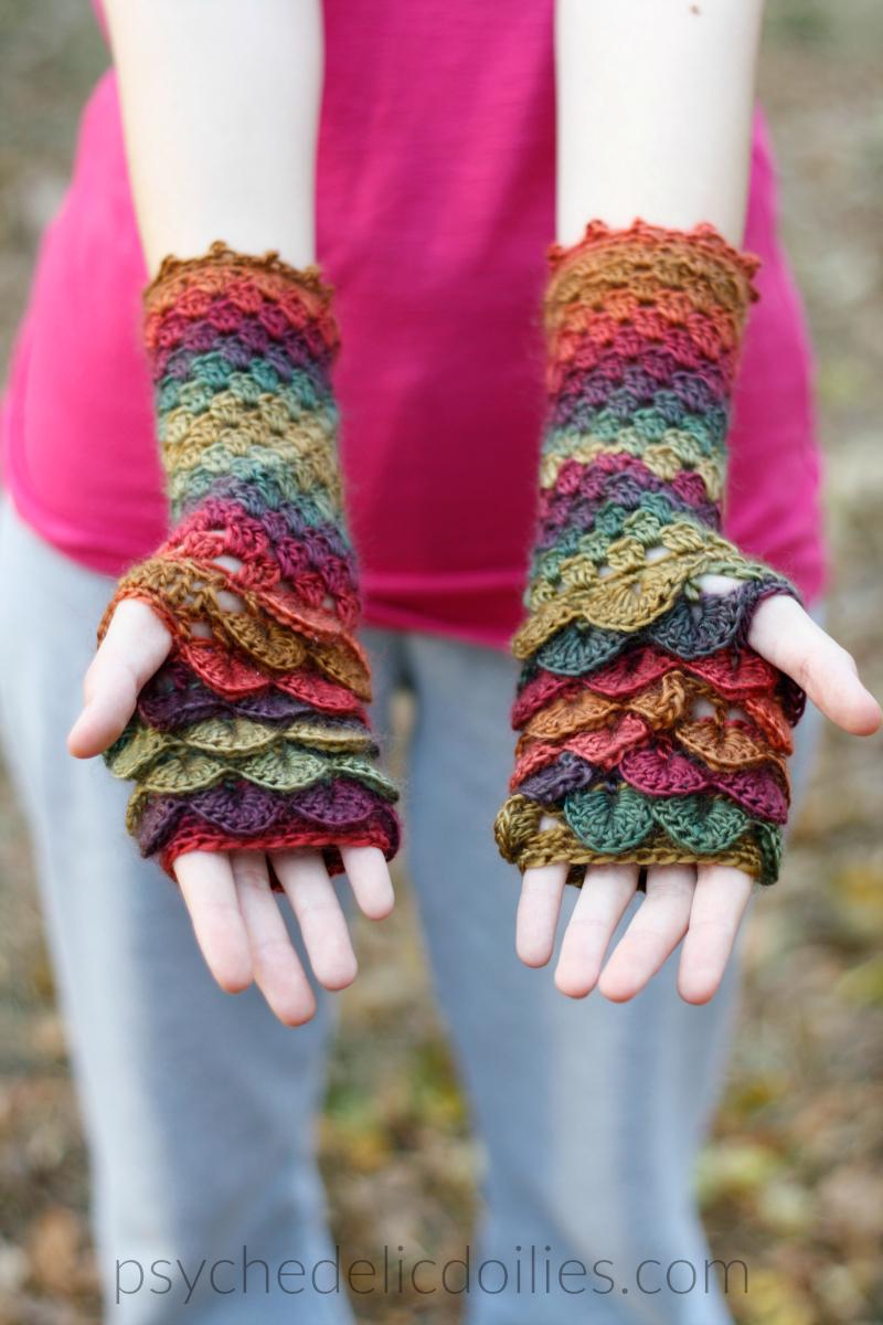 Free Crochet Dragon Glove Pattern Psychedelic Doilies