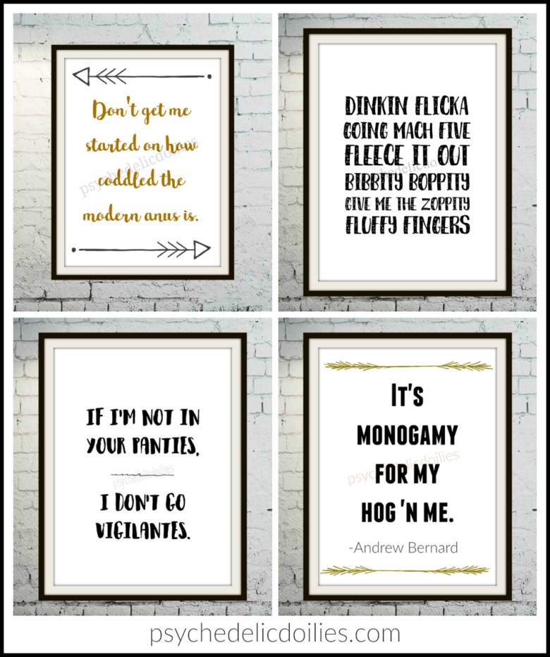 Funny Office Quotes The Office Printable Art Quotes   Psychedelic Doilies Funny Office Quotes