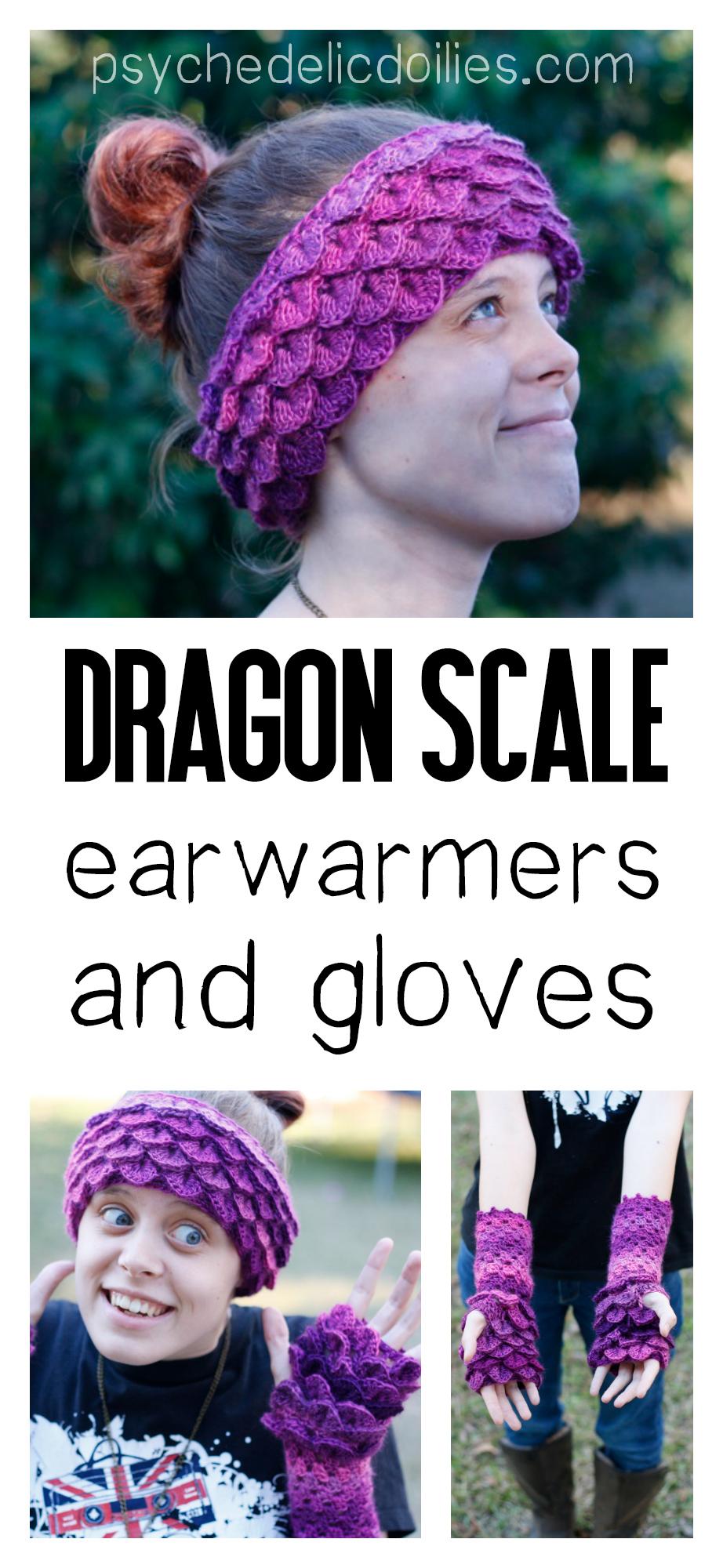 Dragon Scale Ear Warmers Free Crochet Pattern Psychedelic Doilies