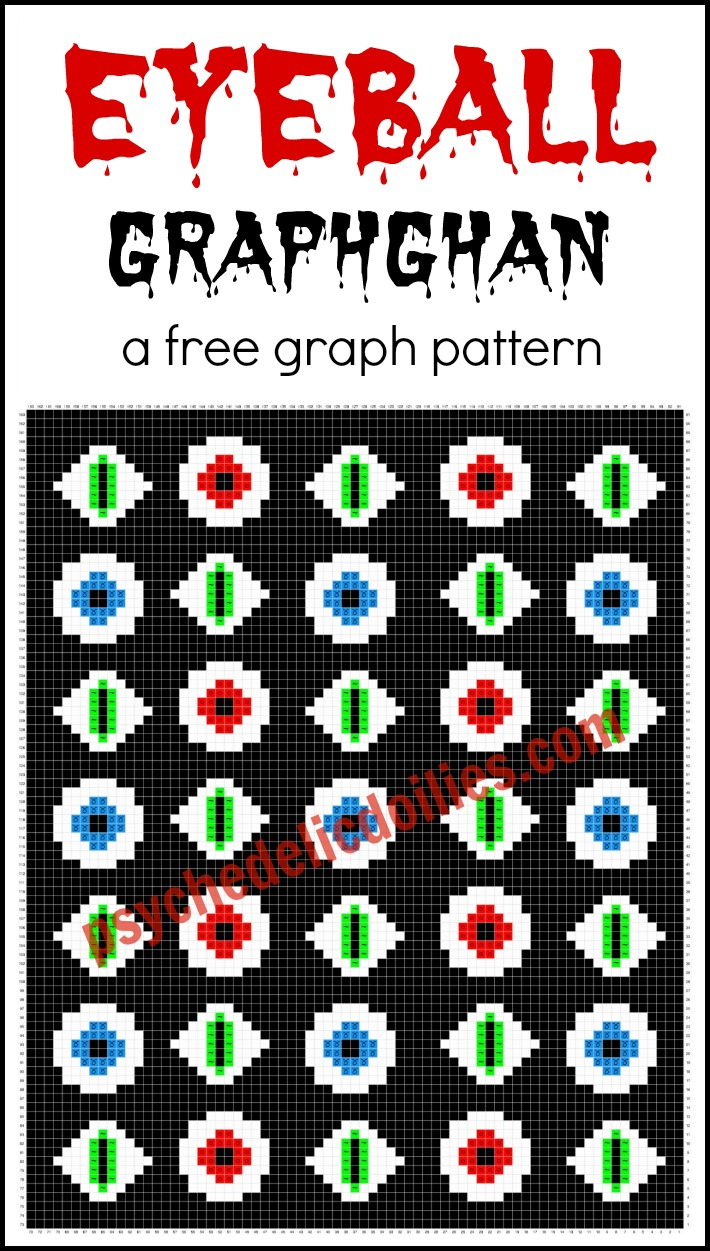 Eyeballs Graphghan Free Crochet Pattern Psychedelic Doilies