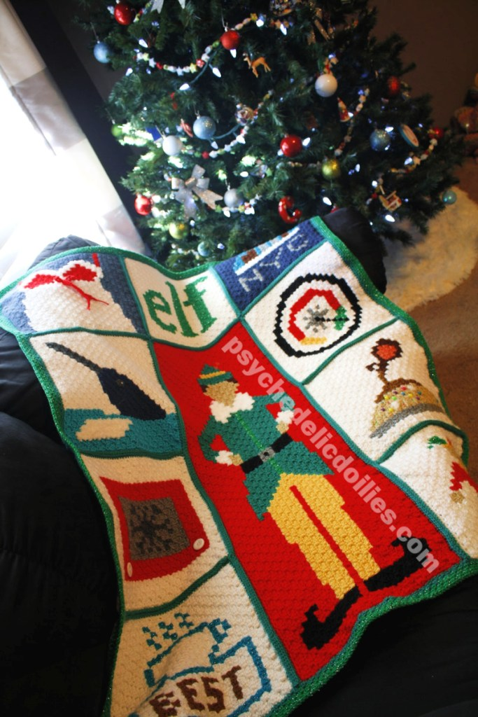 Elf Christmas Blanket Crochet Pattern