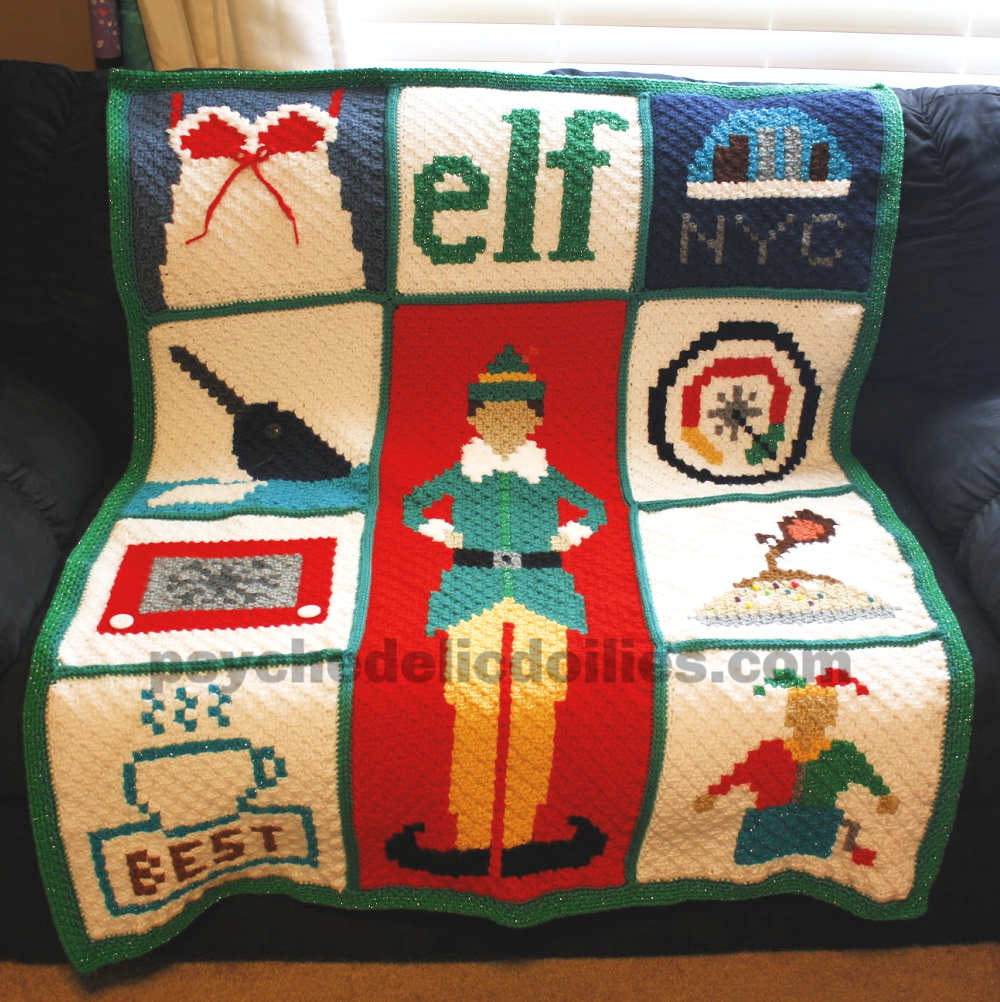 Elf Christmas Blanket Crochet Pattern Graphghan