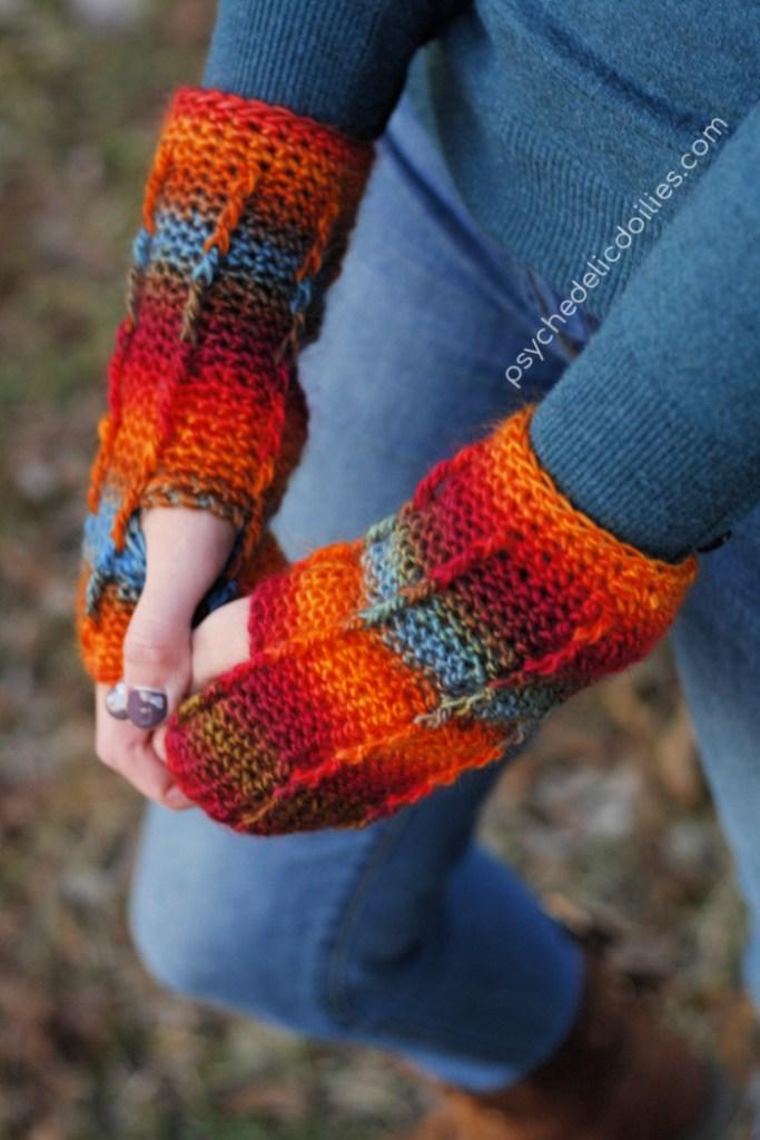 Easy and free beginner fingerless gloves crochet pattern using Red Heart Unforgettable yarn.
