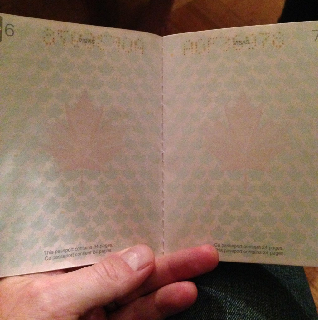 Canadian passport in normal lighting.