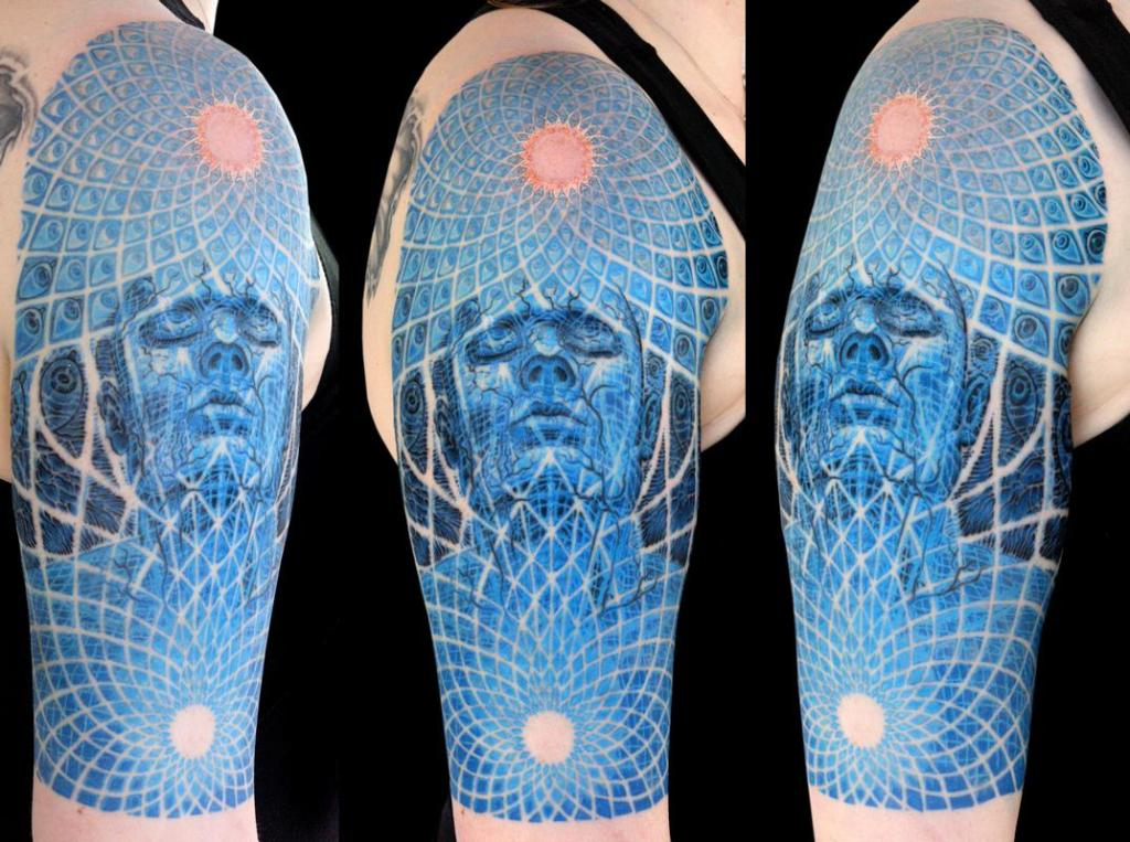 Another Alex Grey inspired design, this one a blue-tinted sleeve of the painting 'Ecstasy.' Artist: James Kern