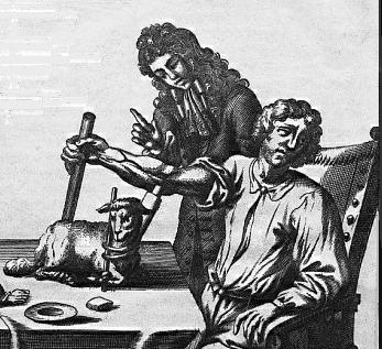 Jean Baptist Denis przetacza krew pacjentowi