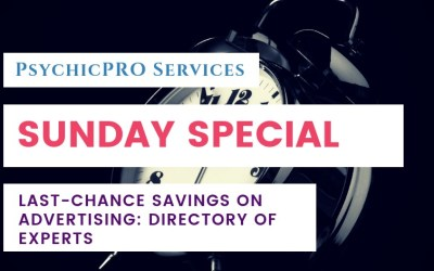 Sunday Special: Last Chance Savings on Advertising in the Directory of Experts