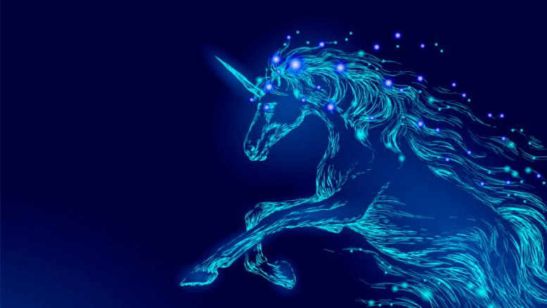 Blue glowing horse unicorn riding night sky star. Creative decoration magical backdrop shining cosmos space horn fairy myth moon light fantasy background vector illustration art