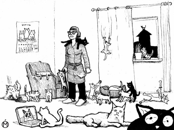 Негативные женские сценарии: женщина с кошками