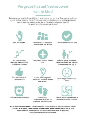 12 icoontjes met tips voor het vergroten van het zelfvertrouwen van je kind