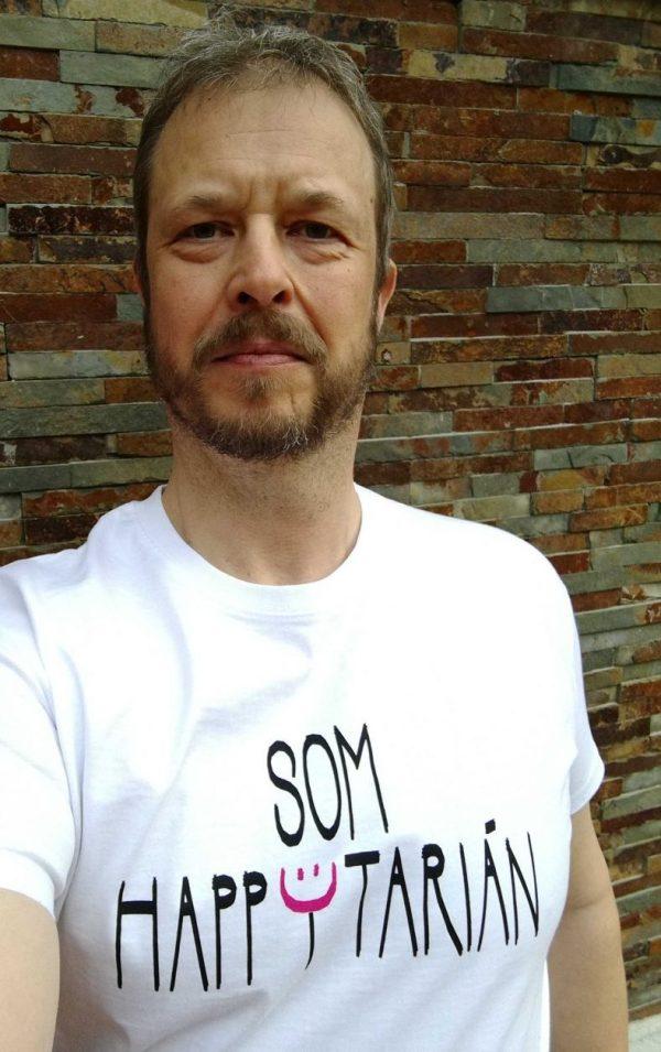 som happytarián biele tričko s názorom
