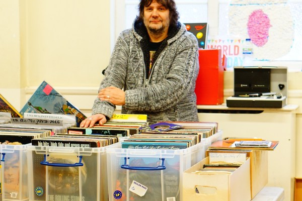 Pete ready to buy and sell records at the record fair