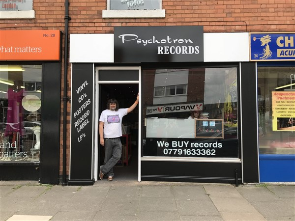 A proud Pete standing in the doorway of your friendly local record shop in Boldmere.