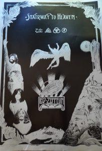 Led Zeppelin Stairway to heaven silver on black