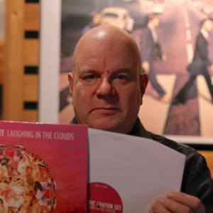 Timo Paakko with the Psychotron Records label vinyl release of Electric Crayon Set 'Laughing in the Clouds'