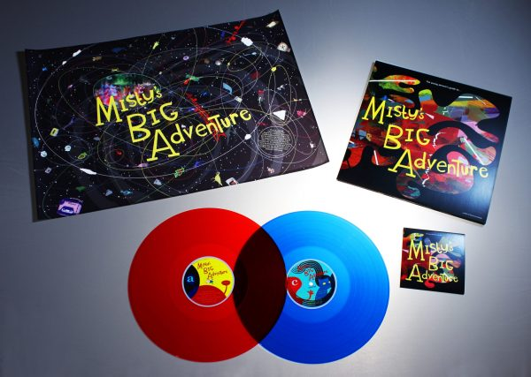 The Young Persons Guide to Mistys Big Adventure pack contents, double coloured vinyl cd and poster